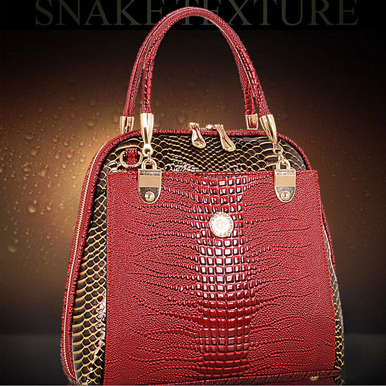 DAWABO Brand Women Shell Bag Patent Leather Bag Female Serpentine Pattern Tote Shoulder Bags Luxury Handbags Crossbody Bags