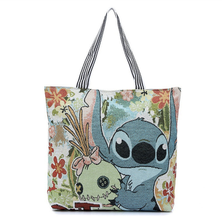 Cartoon Stitch Canvas Tote Bag Flowers Women Handbag Shoulder Bags Women Shopping Bags Beach Bag super quality