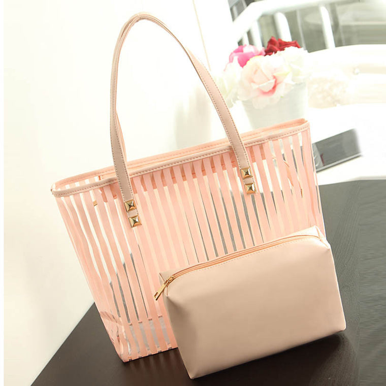 LIXUN Women Transparent PVC Stripped Shopper Tote Bag Ladies Summer Beach Handbags For Teenagers Designer Shoulder Bags Clutches