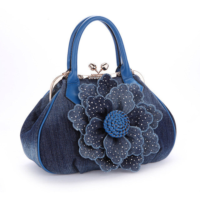 The new design element ethnic Chinese wind hit the color three-dimensional flowers, handmade handbag women shoulder bag