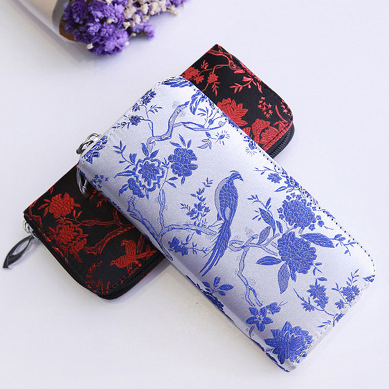 Design Embroidery Wallet Satin Ethnic Floral Wallet CarteiraClutch Bag Zipper Card Coin Purse Embroidered Women Long Wallet