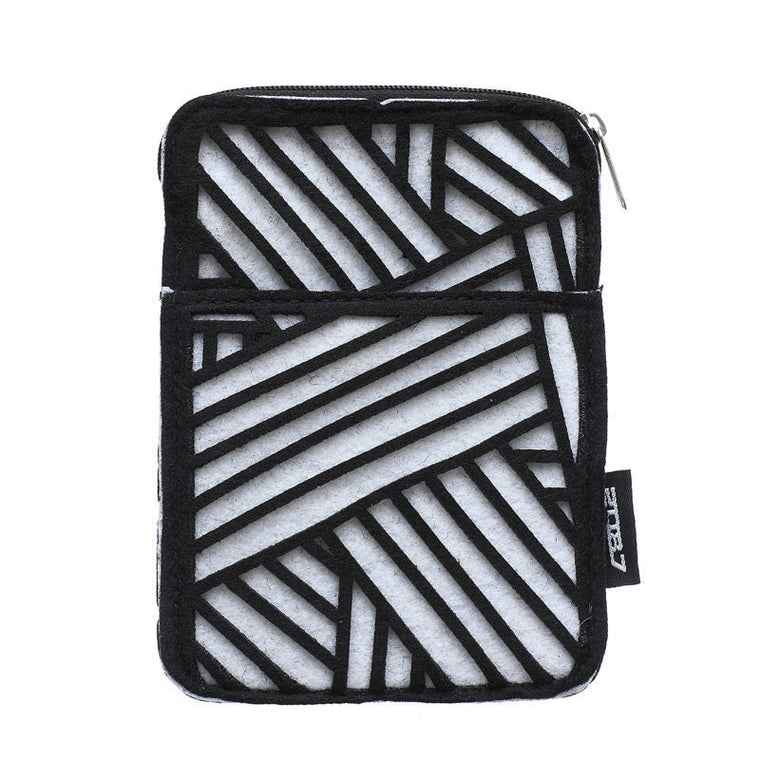 2087 Fashion Coins Purse Cellphone Bag Wallet Mobile Phone Cover Cases for iPhone 4 4s 5 5s Linear Design Black and White