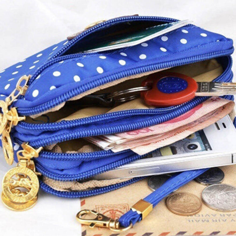 10 Colors Polka Dots Print Women Coin Purse Clutch Wristlet Wallet Bag Phone Key Case Makeup Bag Women credit card holder Tote