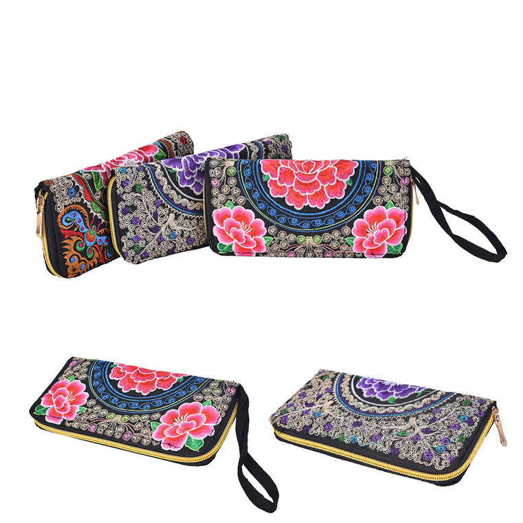 Exquisite Handmade Embroidered Women Long Wallet Vintage Embroidery Purse Linen Party Day Clutch Handbag National Foral