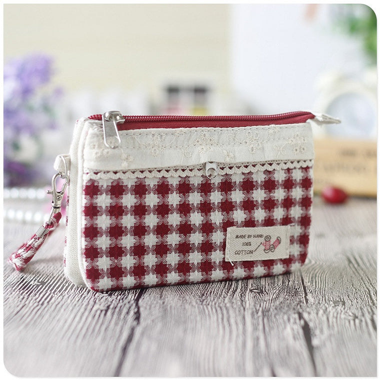 Cotton plaid women's long organizer wallet ladies small phone pouch female coin change purse bag carteira feminina for girls