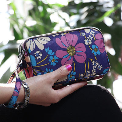 Canvas Waterproof Women Wallets Colorful Printing Zipper Clutch Ladies Cash Purse Cardholder Phone Bags Pouch with Hand-strap