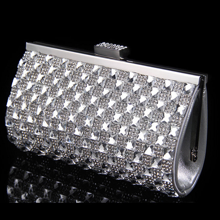 Small Women Evening Bags Rhinestones Chain Shoulder Messenger Purse Bag One Side Acrylic Silver/gold/black Clutch Purse