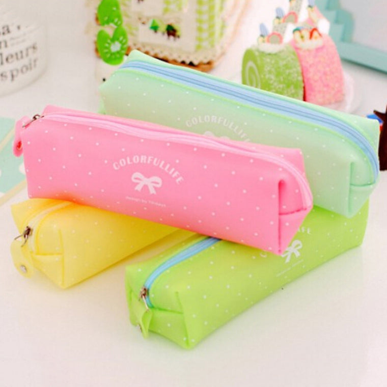 1PC 4 Colors Silicone Dot Bow Pen Bag Girl Student Zipper Pencil Case Travel Cosmetic Bag Office School Supplies