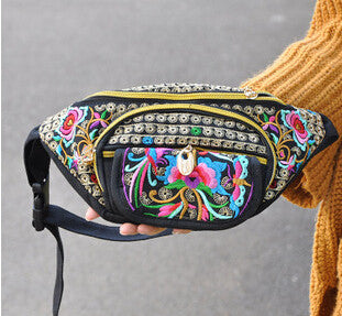 Hot New Waist bags! Vintage Ethnic embroidery embroidery bag canvas arm waist packs travel portable shoulder bags holder