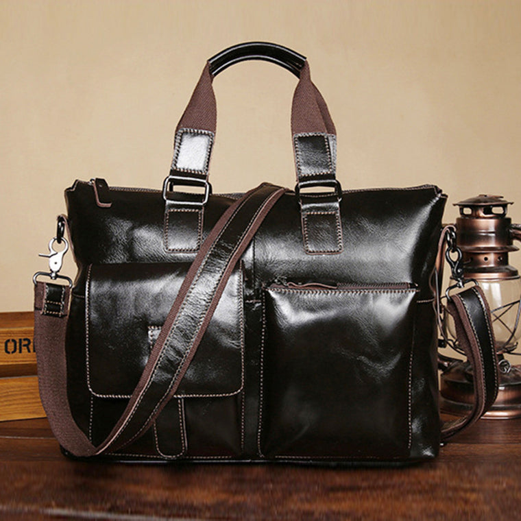 Top Quality Oil Wax Genuine Leather Men Messenger Shoulder Tote Briefcase Bag Retro Laptop Business Male Cross Body Handbag New