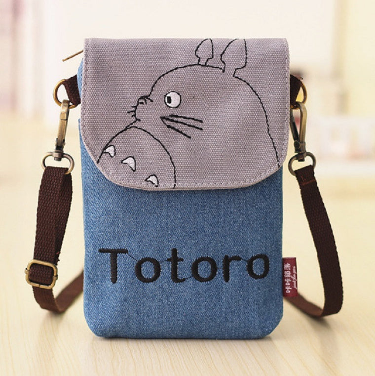 (Canvas+denim) cartoon baymax/hello kitty totoro children school mini messenger crossbody bags kids small pouch bolsa for girls