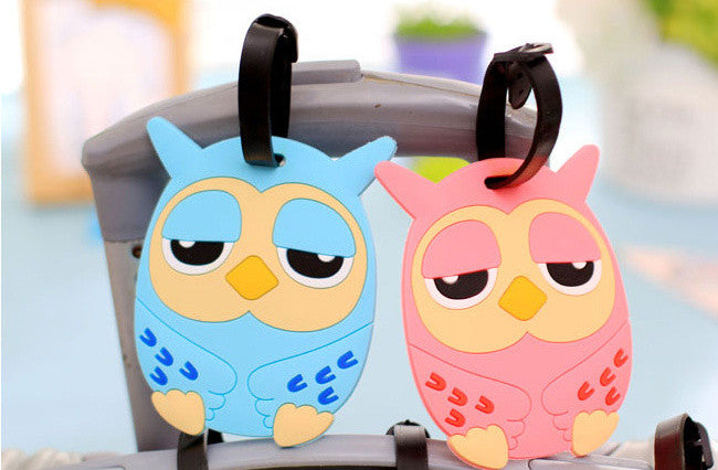NEW OWL Cards Case - 11.5CM Approx. Silicone Rubber Travel Luggage Name Label Tag Holder Case Holder