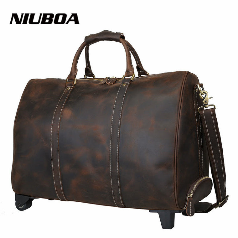 "100% Genuine Leather Travel Bag Men 30"" Real Leather Duffel Bag Luggage with Drawbar Travel Bag Men Big Business Top Duffle Bags"