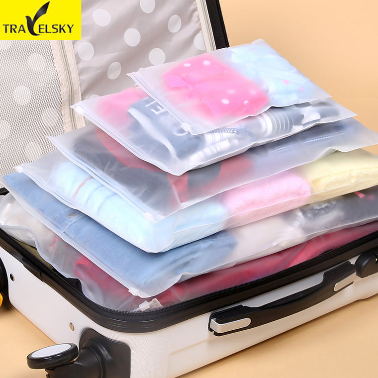 7 Pcs/Set Travel Storage Bag Transparent Waterproof Clothes Bag EVA Luggage Sealing Bag Underwear Organizer Free Shipping