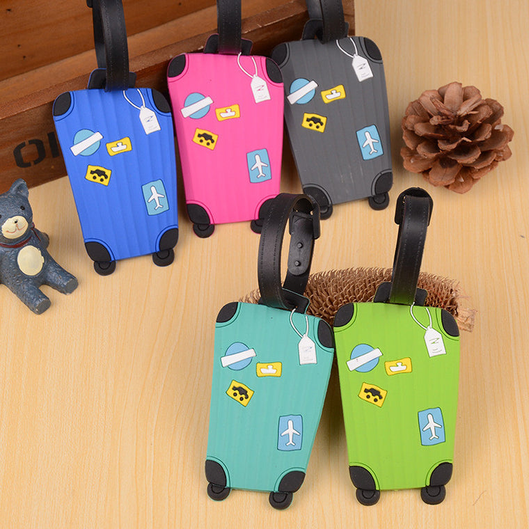 Silica Gel Luggage Tags Suitcase Shape Travel Accessories Address ID Label Suitcase Name ID Address Phone Number Board Check Tag