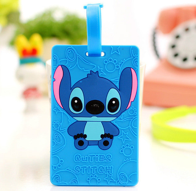 Stitch 16*6CM Approx. Silicone Travel TAG Case , Gift Cartoon Luggage Name Tag Pad ; Label Names Cards TAG
