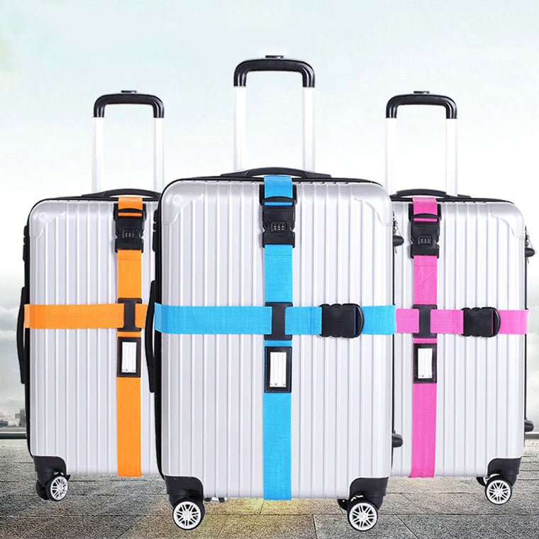 Luggage Strap Cross Belt Packing Adjustable Travel Suitcase Nylon 3 Digits Password Lock Buckle Strap Baggage Belts