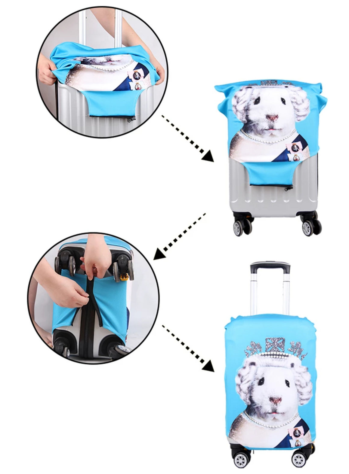 "20"" 24"" 28""3D Animals Travel Luggage Protective Covers Travel Accessories Women Pet Suitcase Protections Cover For 18 to 30 Inch"