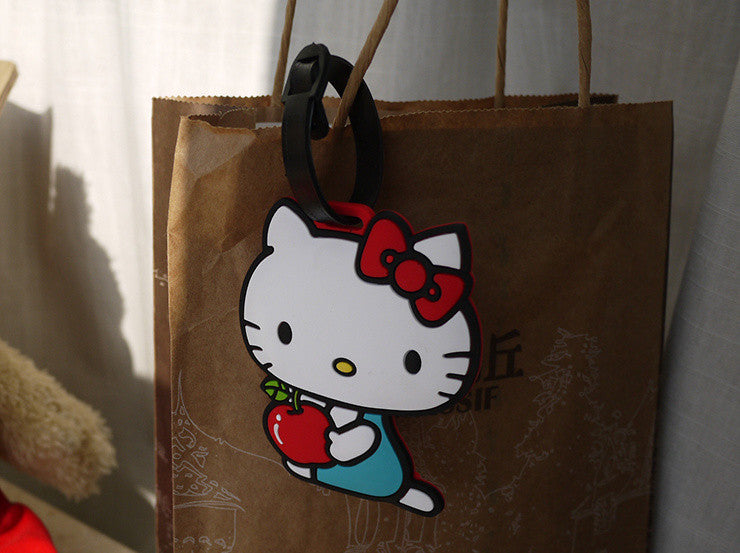 Hello Kitty 11CM Silicone Rubber Travel Luggage Pad Tag Holder ; Cards Label Name Cards TAG Case Pouch