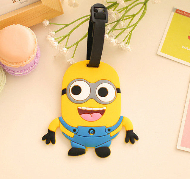 Yellow Minion Cartoon 11.5CM Approx. Silicone Rubber Travel Luggage Tag Holder ; Label Name TAG