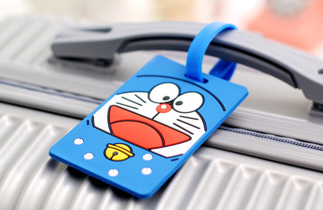 Kawaii Doraemon 16*6CM Approx. Silicone Travel TAG Case , Luggage Name Tag Pad ; Label Names Cards TAG