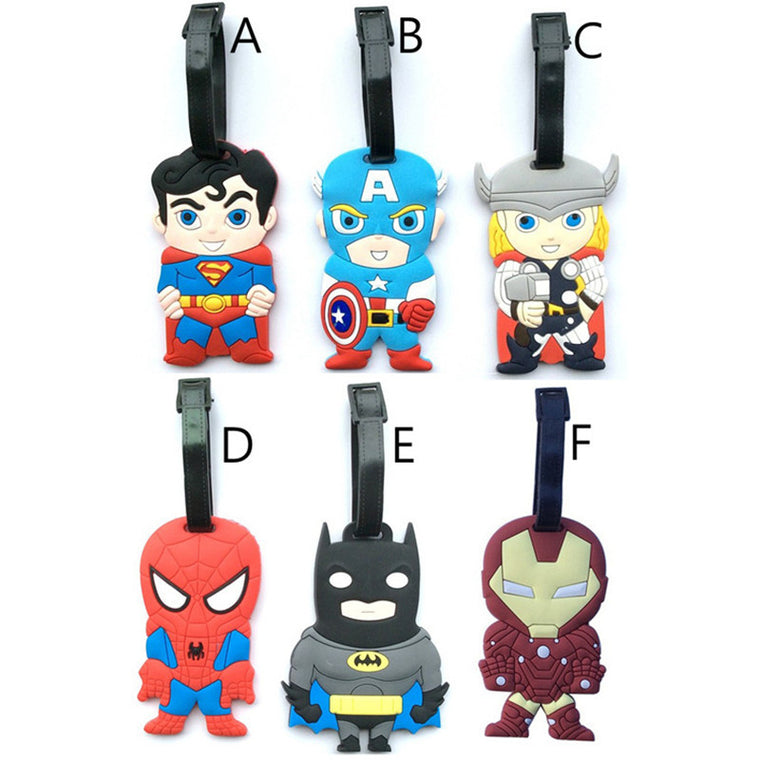 The Avengers Luggage Tag New Fashion Iron Man Batman Thor PVC Suitcase Label ID/Address/Phone/Name Holder Travel Accessories