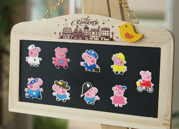 Novelty 8-9PCS High Quality Cute Pink Pig Blackboard Magnetic Stickers PVC Fridge Magnets School Supplies Travel Accessories