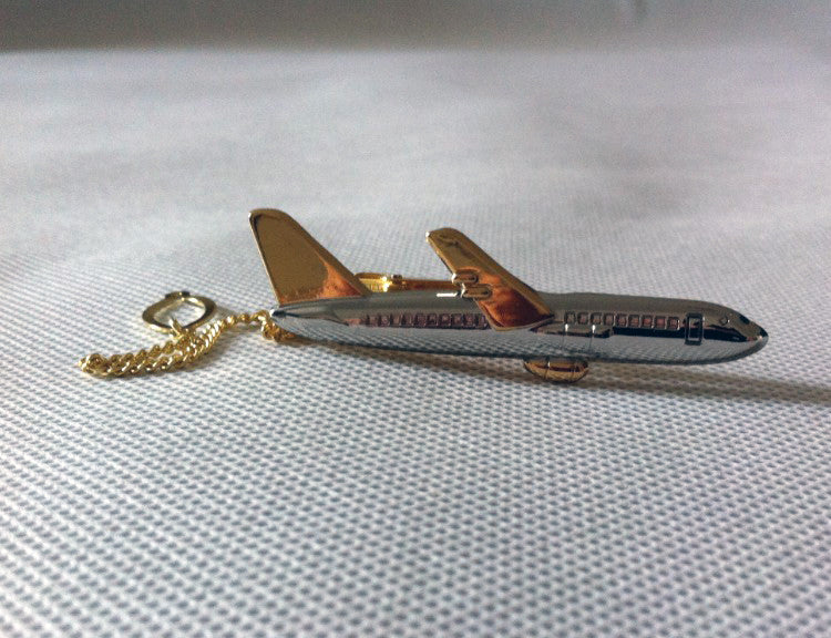 New Design Men Luxury Golden & Silver Airplane Shape Tie Clips Pilot High Quality Special Personality Plane Stickpin Pins
