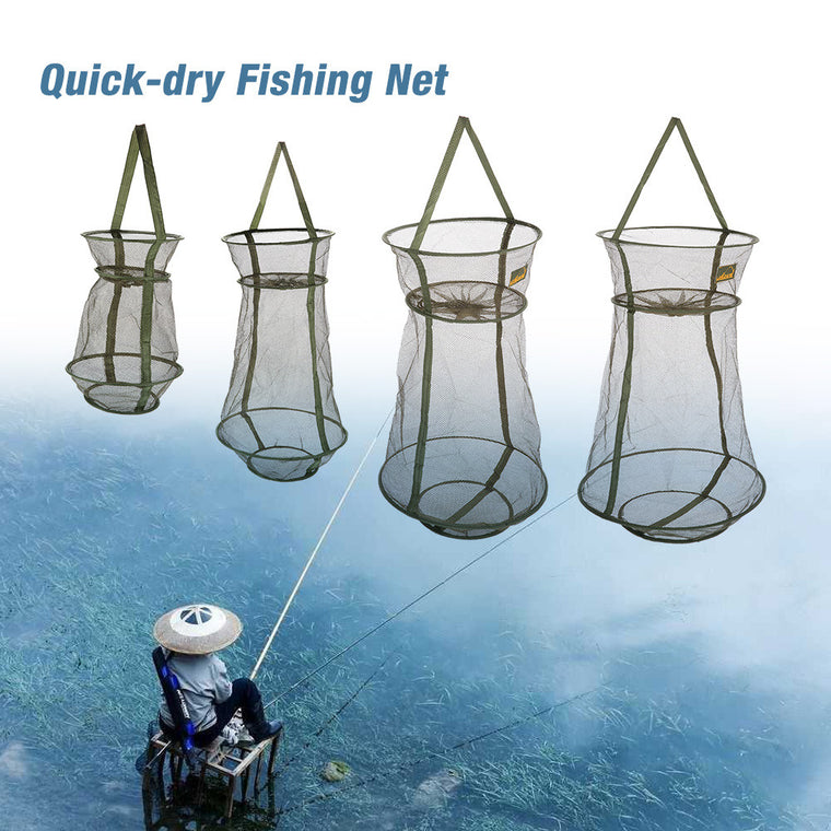 4 Sizes 3 Layer Portable Fishing Net Round Folding Fish Shrimp Mesh Cage Cast Net Fishing Trap Network Fold Landing Net