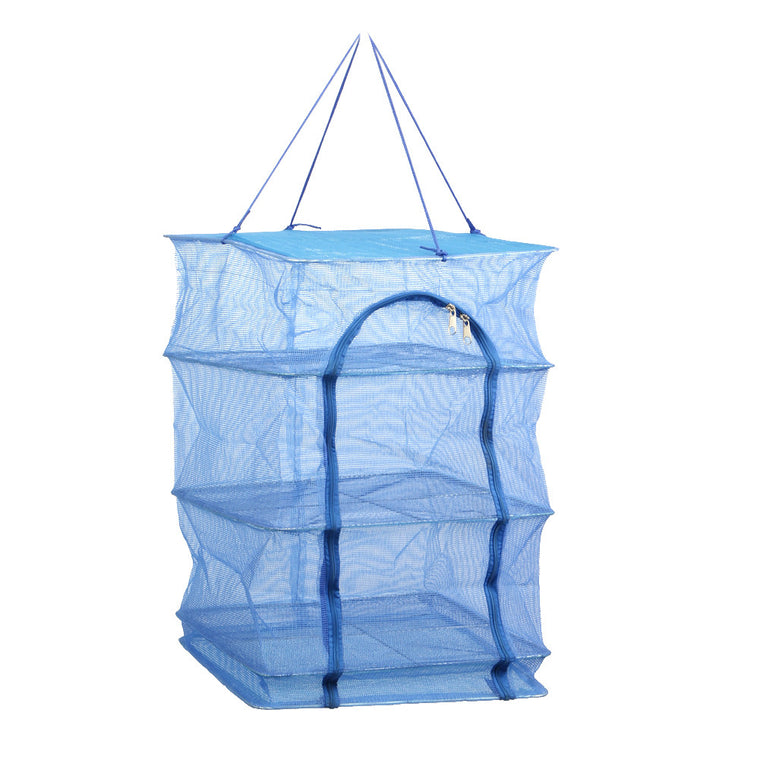 Fish Net 40 x 40 x 68cm 4 Layers Drying Rack Folding Fish Mesh Hanging Net Blue PE