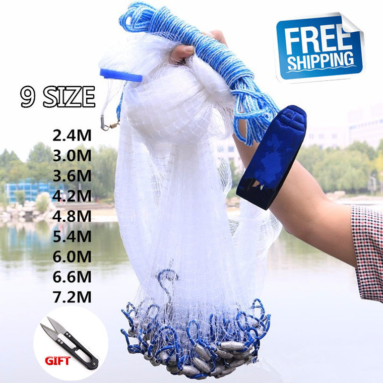 Cast Net Diameter 2.4m-7.2m Size Fishing Network American Hand High Quality Nylon Outdoor Sprots Throw Tool Without Sinker