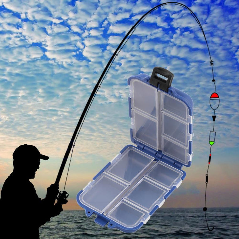 10 Compartments Fishing Storage Case Box Blue Fly Fishing Lure Spoon Hook Bait Tackle Box Case Fishing Accessories