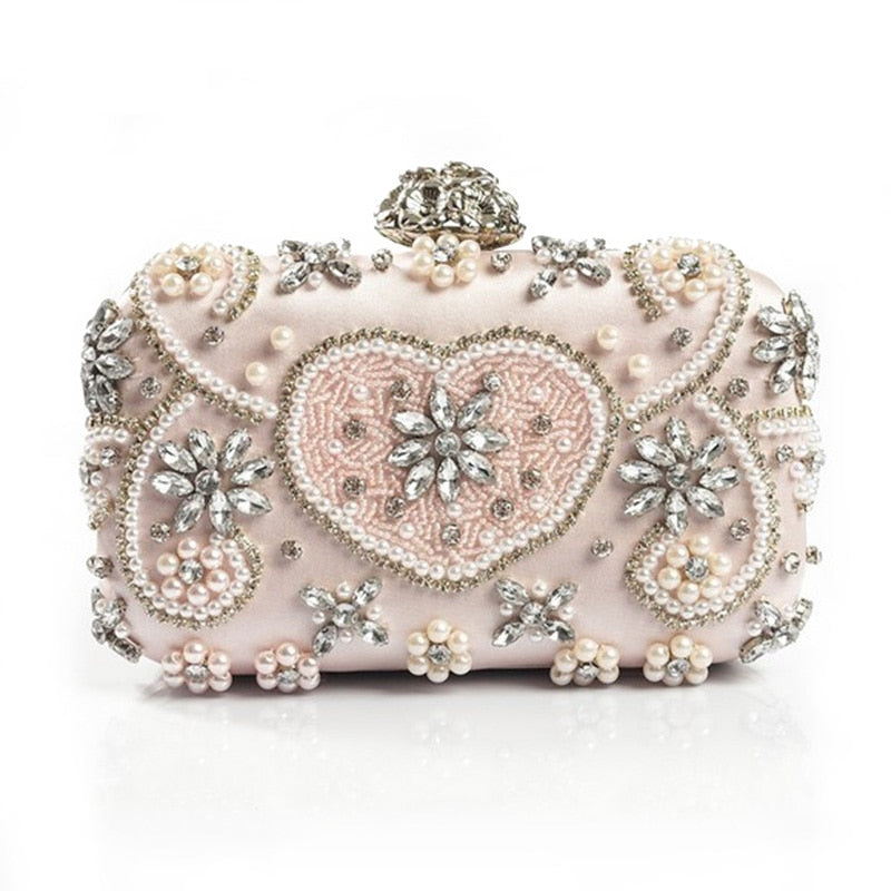 Luxury Crystal Evening Bag Handmade Style Rhinestones Pearl Women Evening Bags Vintage Satin Lady Party Wedding Clutches Purses