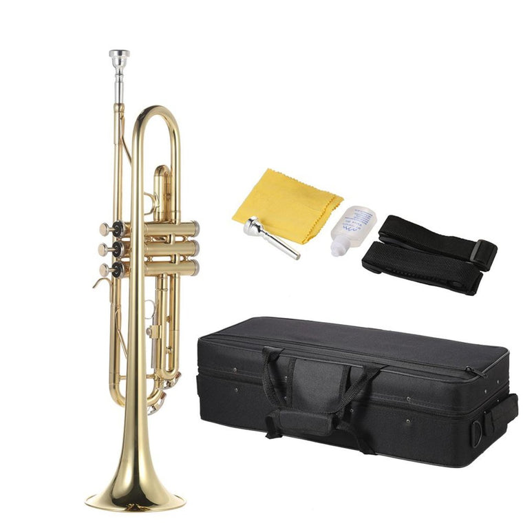 Trumpet Bb B Flat Brass Gold-painted Exquisite Durable Musical Instrument with Mouthpiece Gloves Strap Case