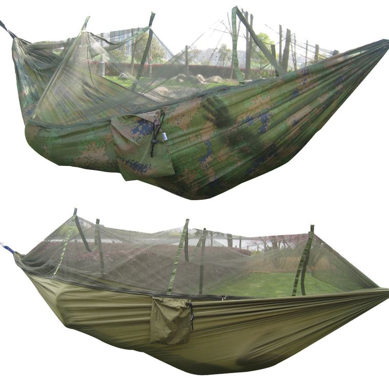 260x130cm Portable Outdoor Garden Army Green/Camo High Strength Parachute Fabri Camping Hanging Bed Hammock with Mosquito Nets