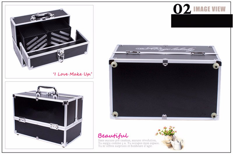 KUNDUI suitcase professional makeup cosmetics bag large multi-purpose portable multi travel cosmetic nail makeup storage box