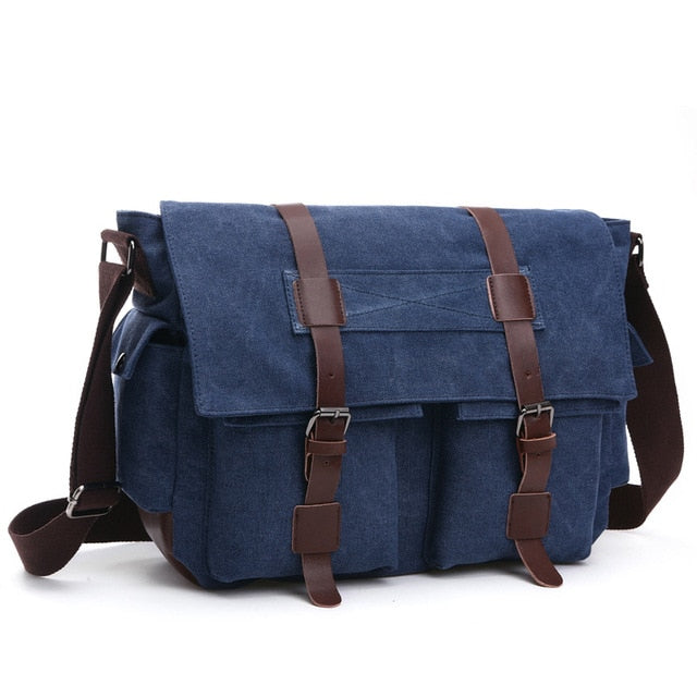 Vintage Men Messenger Bags Canvas Shoulder Bag Fashion Business Crossbody Bolsas Maleta Travel Handbag Sacoche Homme Marque Luxe