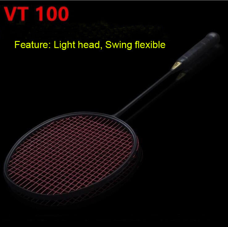 1 pc 30LBS ZARSIA Good Control vt 100 46T 4U Badminton Racket 100% carbon badminton racquet black badminton racket