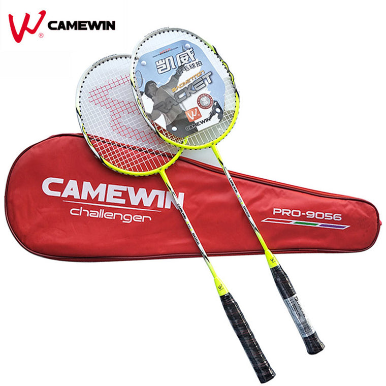1 Pair Carbon Aluminum Professional Badminton Racket With Bag CAMEWIN Brand High Quality Badminton Racquet Green Black Grey
