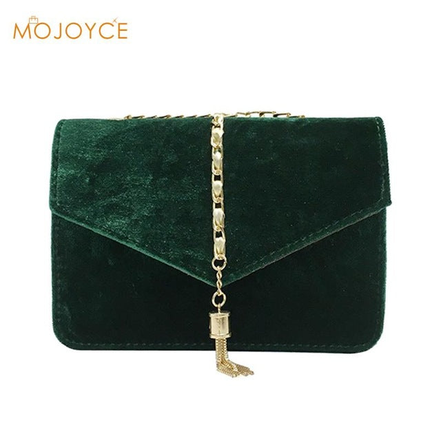 Retro Velvet Crossbody Bag Autumn Winter Gold Messenger Bags Women Elegant Long Chain Shoulder Bag Female Tote Vintage Handbag