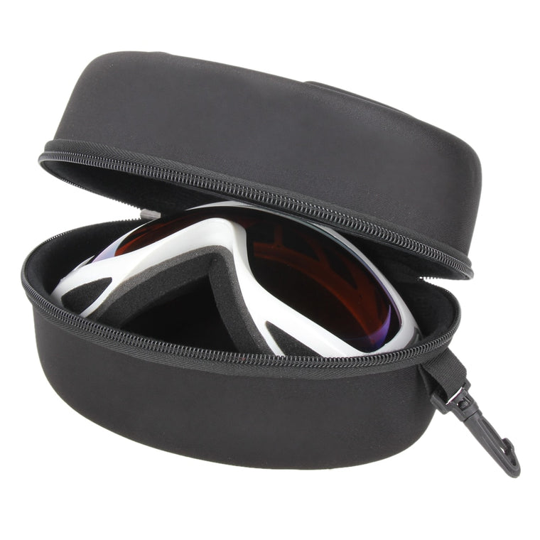 Portable EVA Ski Goggle Glasses Protector Case(Without Goggles) Glasses Box Sunglasses Zipper Storage Bag with Buckle Hook Black