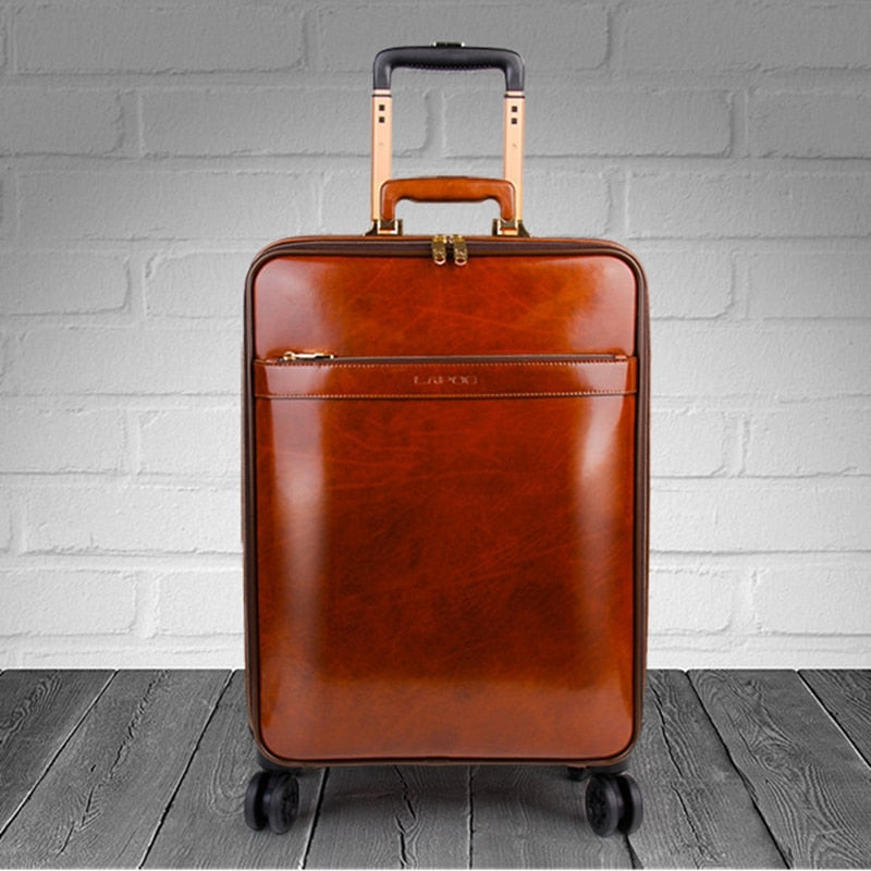"Travel tale 16""20 genuine leather cabin trolley luggage retro travel suitcase"