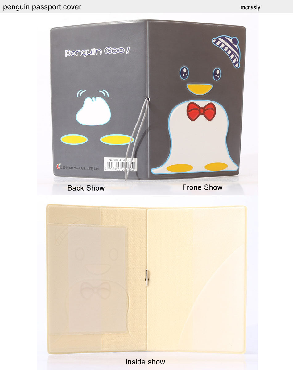 Black Penguin Passport Holder ID Card Holder 3D Design PVC Leather Business Card Bag Passport Cover 14*9.6CM