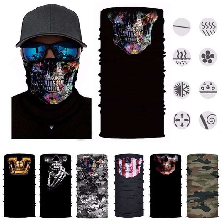 New Sunscreen Hiking Neck Scarf Face Mask Head Scarves Skull Face Shield Magic Scarf Tubular Bicycle Mask Bandana Headwear