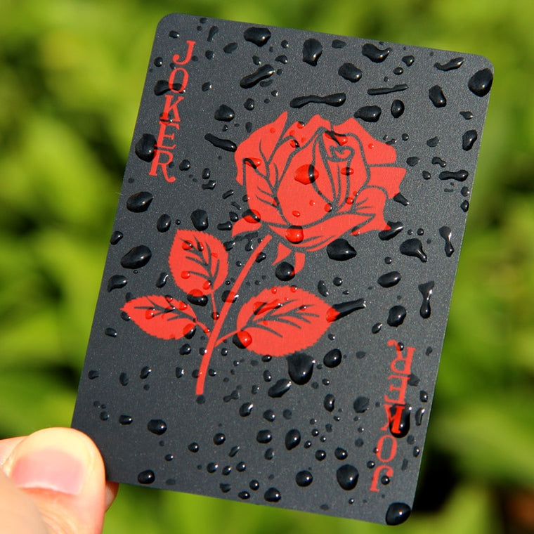 New Arrival Rose Design Plastic PVC Black Poker Waterproof Playing Cards Novelty High Quality Collection Gift Durable Poker