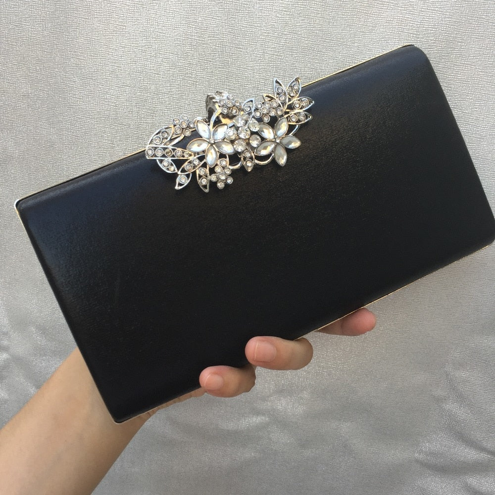 DAIWEI New Women's Fashion PU/Leather Formal Event/Party Wedding Evening Bag/Handbag/Clutch with Diamonds BLACK GOLD SILVER