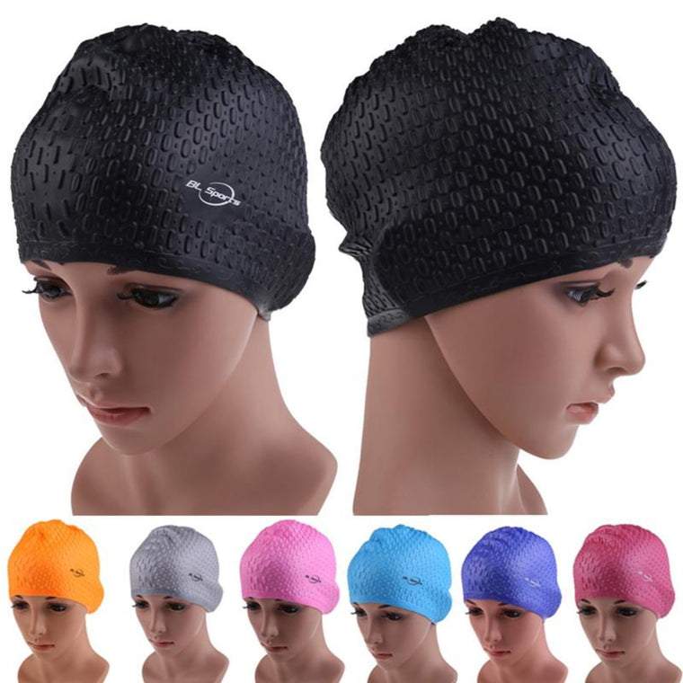 Unisex Flexible Waterproof Silicone Swimming Cap Adult Waterdrop Swimming Head Cover Protect Ear Swim Caps Pool Bath Cap Badmut