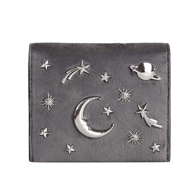 Prettyzys Women Wallet Female Slim Purse Short Small Long Leather Change Card Holder Coins Zipper Light Star Moon Velour Large