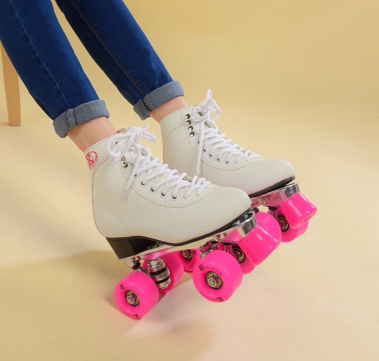RENIAEVER Women's Classic Retro 4 Wheels Quad Roller skates  skating shoe  pink wheels,white shoes Aluminum Plate,free shipping
