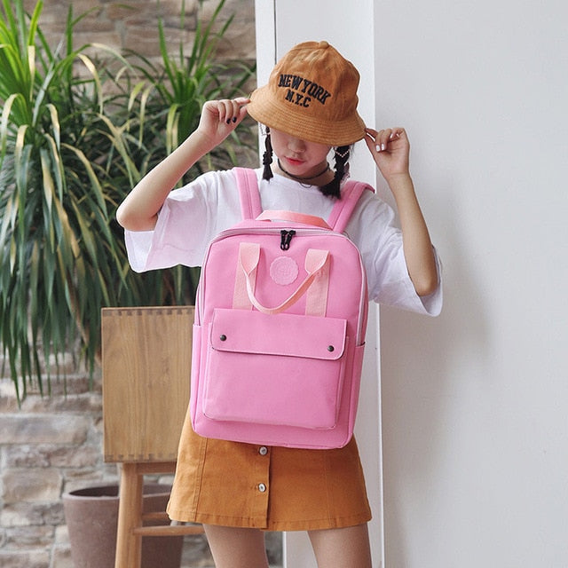 High Quality Fashion Waterproof Women Backpack for School Teenagers Girls Stylish School Bag Ladies Canvas Backpack Female